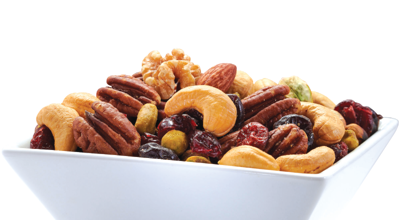 bowl of mixed nuts and dried fruits